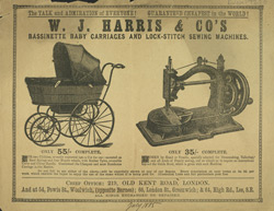 Advert for WJ Harris & Co, Bassinettes & sewing machines